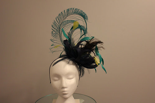 "SOLD -Breeders' Cup or Kentucky Derby Fascinator - ""Navy & Teal How Do You Feel"""