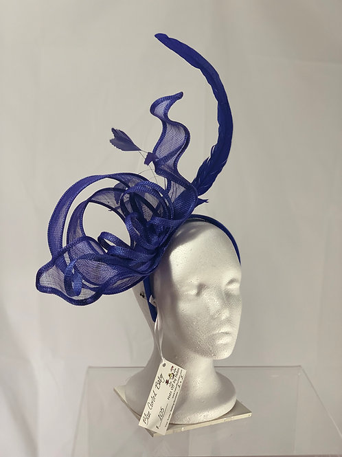 "KENTUCKY  Derby Blue Fascinator - ""Blue Curled Baby"""