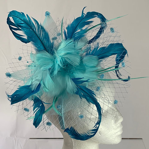 "Kentucky Derby blue fascinator  ""Sea me at Derby"" SOLD"