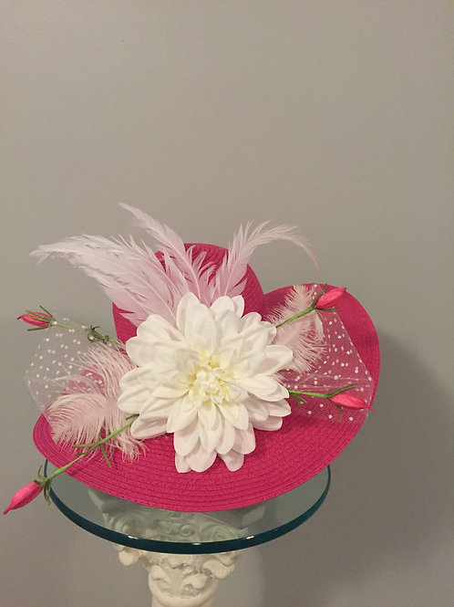 "Hot Pink Kentucky Derby Hat ""Pink & White Delight"""