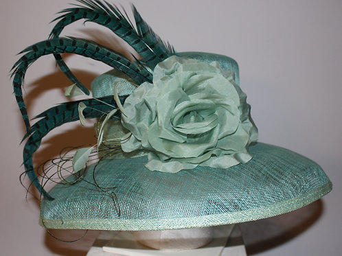 """Haute Hat and That's That"" - Sea foam, light teal  Kentucky Derby Hat"