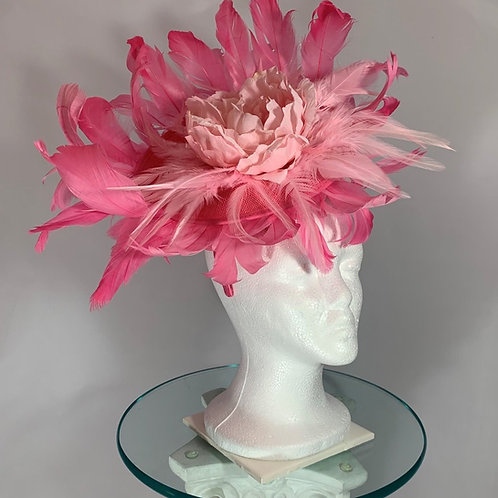 "Kentucky Derby pink fascinator ""Popping Peony"""