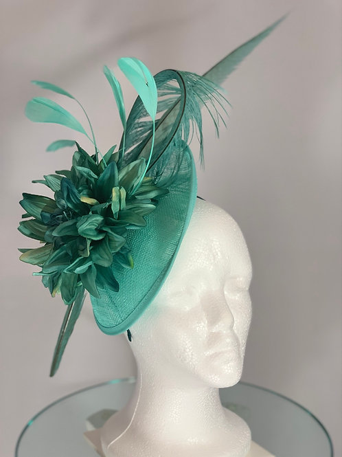 "Kentucky Derby aqua fascinator ""Simple Soft Aqua"""