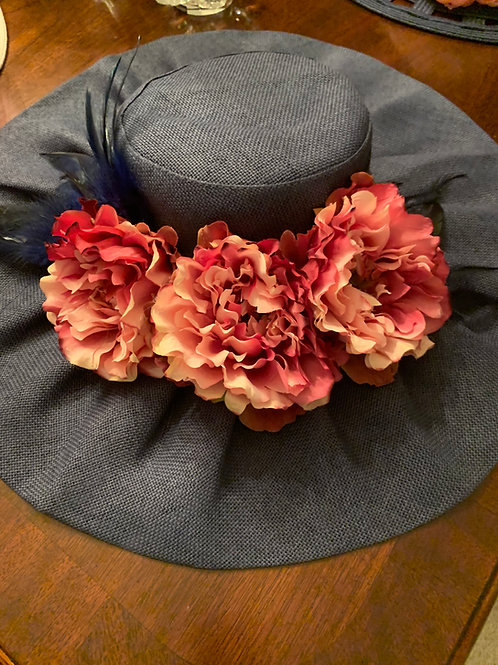 "Navy Kentucky Derby Hat ""Ruched Racin"""