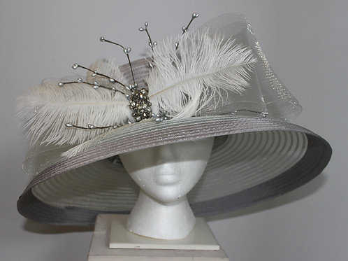 "Kentucky Derby Hat - Gray-Silver ""Sterling Bling"""