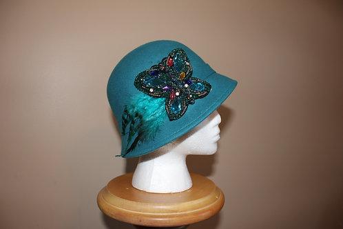 "Felt cloche hat - ""Turquoise Teal"""