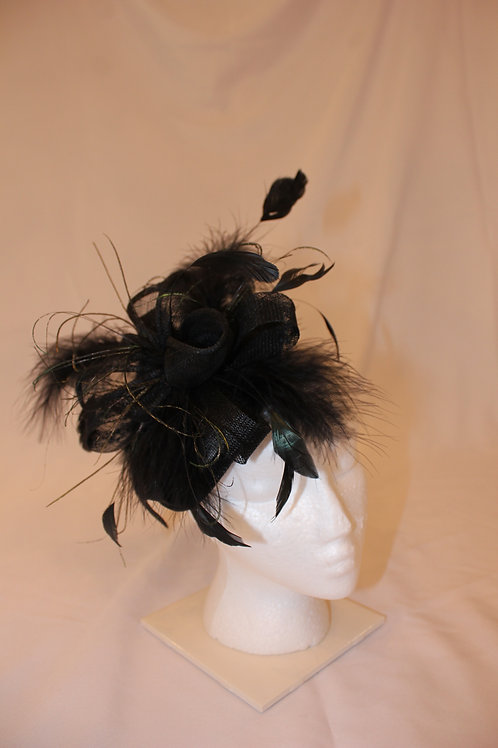 "Black Fascinator ""Horses Make Me Happy"" SOLD"