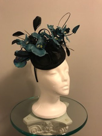 "KY Derby Black Pillbox Fascinator - ""Teal Orchid Lady"""