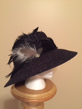 """""""Hat by a Nose"""" - fall or winter wool black hat"""