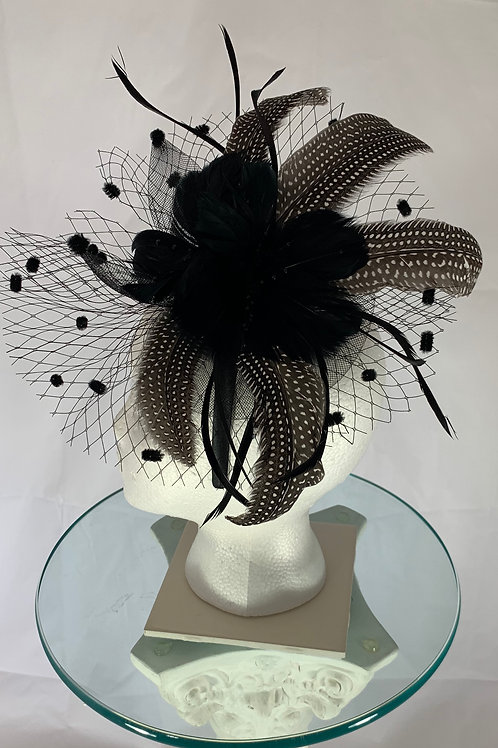 """Kentucky Derby Black Fascinator tor """"Under Two Minutes """" Sold"""
