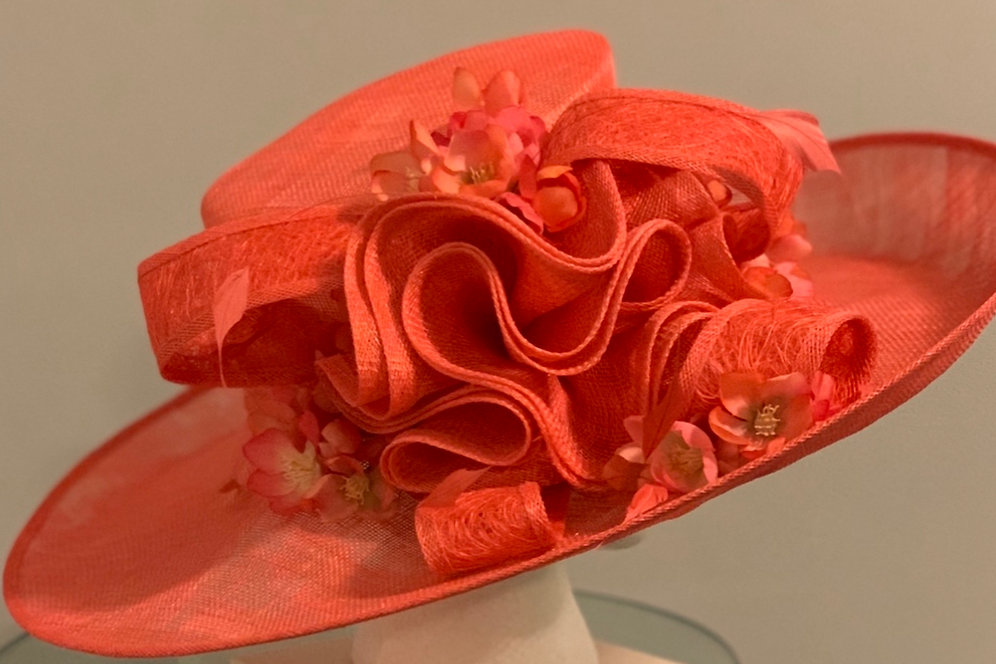 """aed02106 Coral Kentucky Derby Hat """"Coral and Cute"""""""