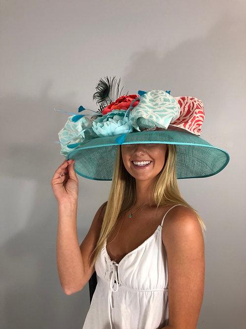 "Kentucky Derby Hat - ""Coral Aqua Crazy"""
