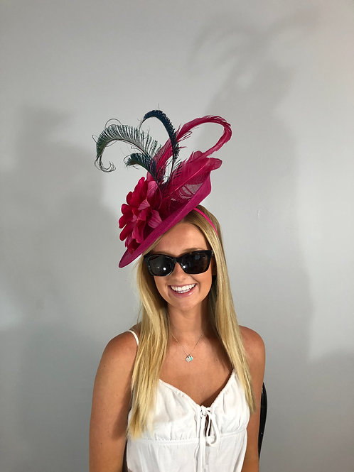 "Kentucky Derby Hot Pink Fascinator ""Fantasic Fuchsia""(SOLD)"