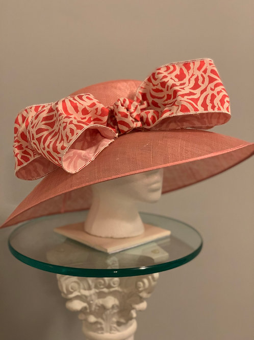 """SOLD - Coral Derby Hat- """"At the Gate"""""""