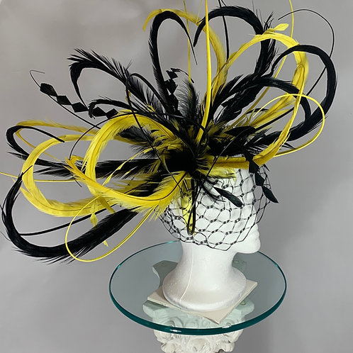 "Kentucky Derby oversized yellow and black fascinator ""What's the Buzz"""