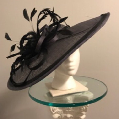 """KY Derby-Dark Gray Disc Fascinator """"Bet On the Gray One"""""""