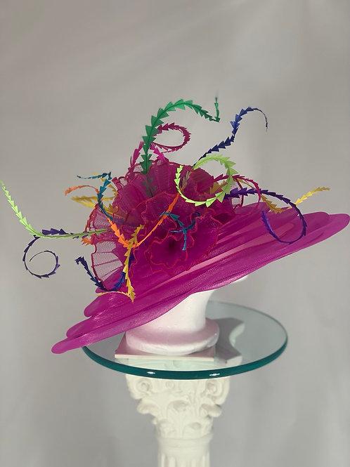 "Kentucky Derby Fuchsia Hat  ""Creative Curled Cuteness"""