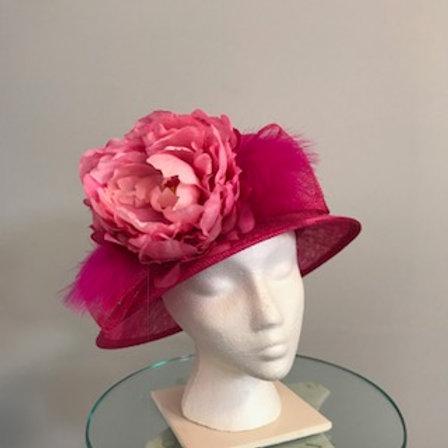 "Kentucky Derby Hat - fuchsia hot pink di amah cloche ""Pink & Proper"""