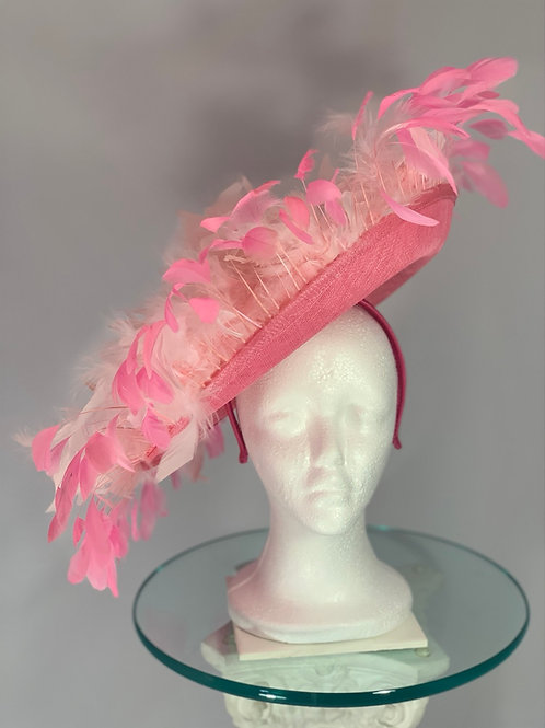 "Kentucky Derby Pink Oversized Fascinator ""Pink Explosion and the Oaks"""