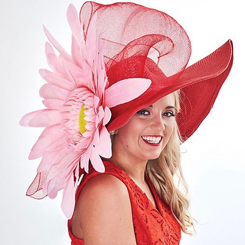 "Kentucky Derby Hat ""Get Ahead With Pink and Red"""
