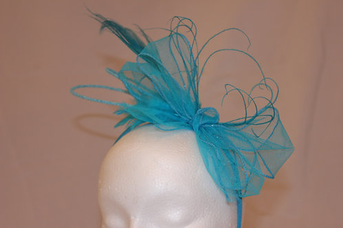 "Turquoise Blue Fascinator ""Blue Lilly Peacock"""