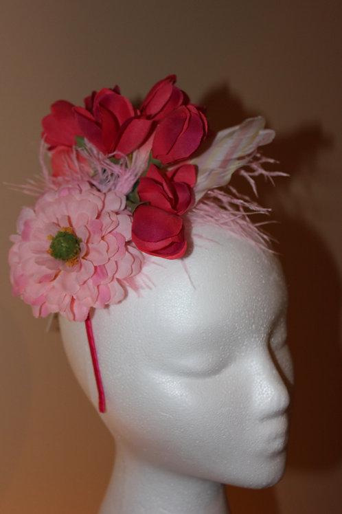 "Pink Fascinator on Headband - ""Flowers & Foals"""