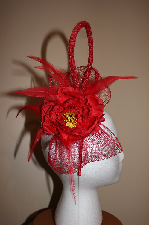 "Fascinator Red - ""Fast Horses, Fancy Women"""