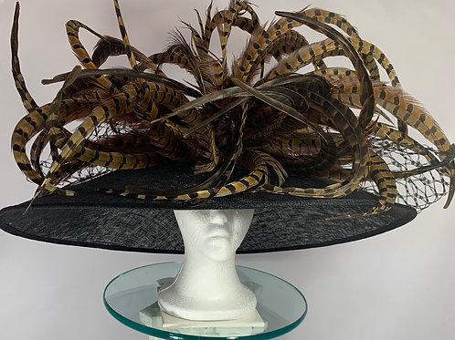 "Kentucky Derby Oversized Black Hat ""Pheasant Frenzy"""