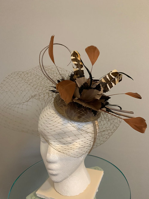 """Kentucky Derby or Breeders' Cup Fascinator - """"Taupe Tiger"""""""