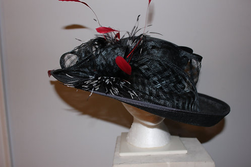 "SOLD ""High Stake Hat"" - Black Kentucky Derby Hat"