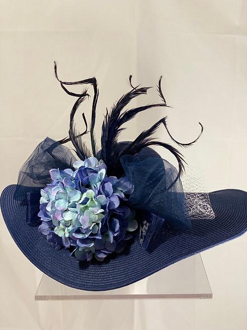 "Kentucky Derby Hat - ""Navy Splendor""- wide brimmed KY Derby Hat"