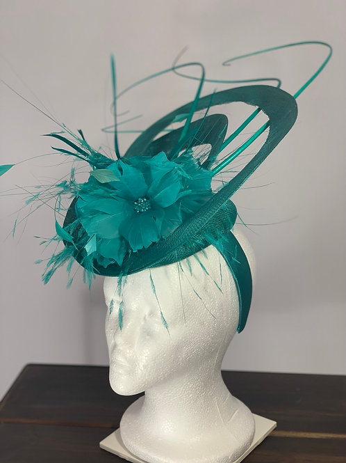 "Kentucky Derby Fascinator ""Jaded Turquoise Treat"""