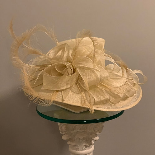"SOLD  ""Creme Brulee"" Off White sinamay Kentucky Derby or Preakness Hat"