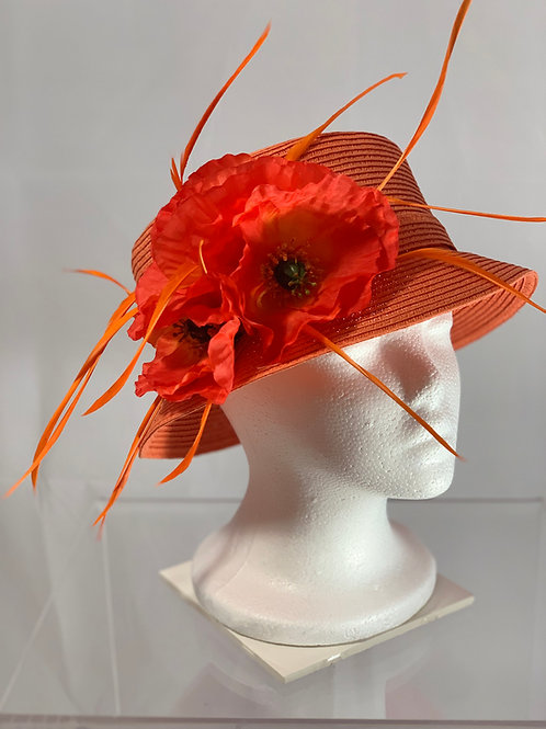 "Kentucky Derby Orange Small Brimmed Hat ""Petite Passion"""