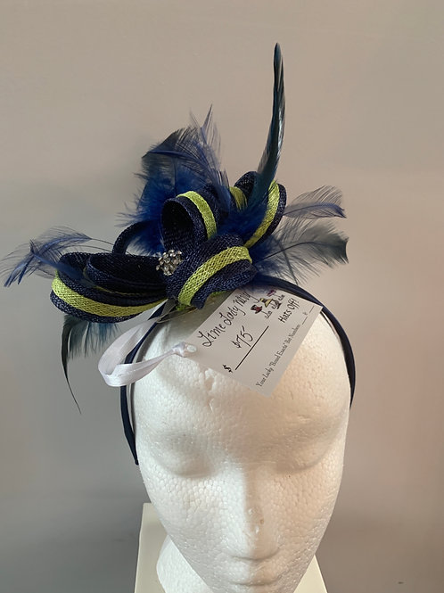 Lime Lady Navy Fascinator