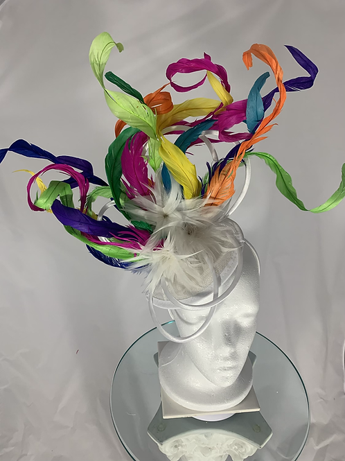 "Kentucky Derby colorful Fascinator - ""Loopy Curls"""