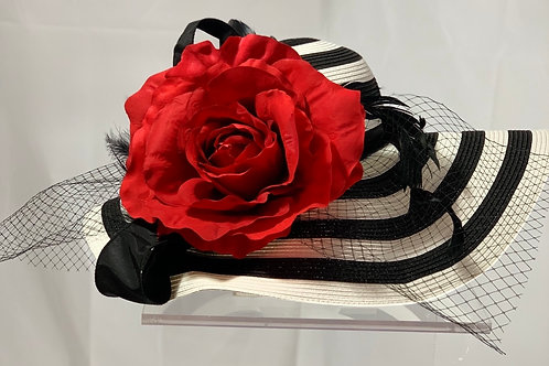 """Kentucky Derby Black and White Hat - """" Blanket of Roses"""""""