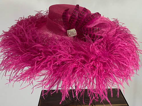 "Kentucky Derby Fuchsia Hat ""Round About and Ready"" SOLD"