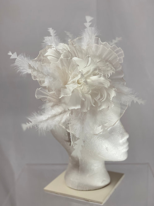 White Kentucky Derby Fascinator-White Wonder - SOLD