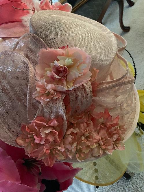 """Peach KY Derby Hat, """"Swirling Silks"""""""
