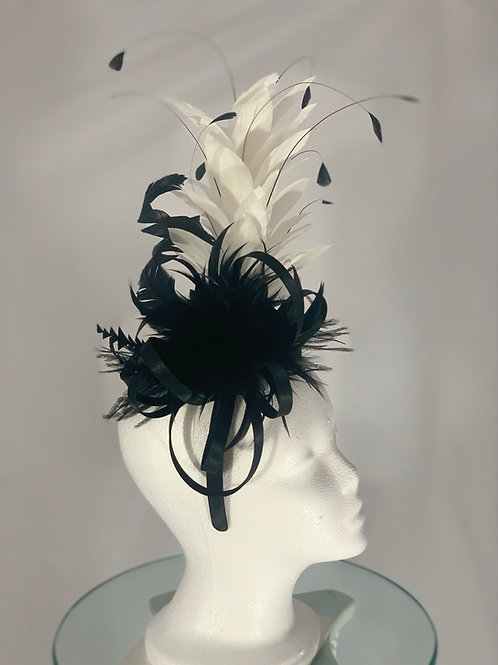 "Kentucky Derby Fascinator  ""Black and White What a Slight"""