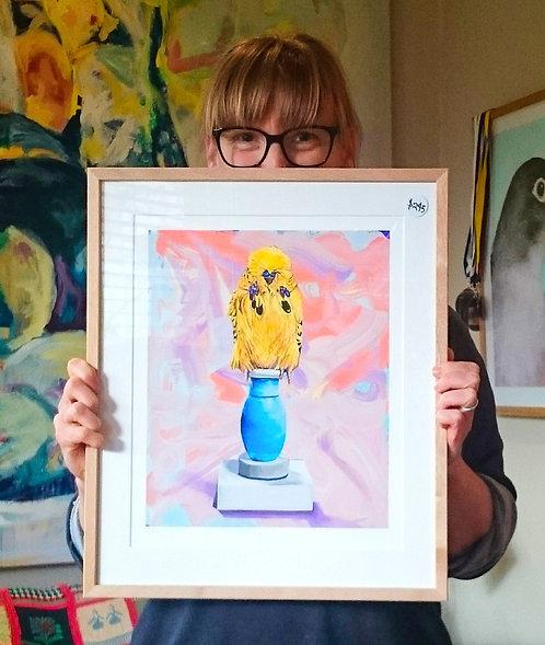 Custom framed  limited edition fine art print, 'Buddy'