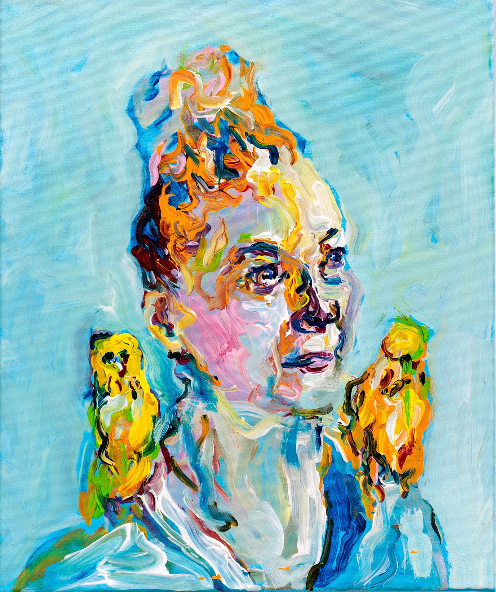 Self-portrait with Budgies