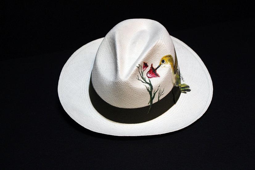 Panama Hat (Grado 0) Pintado a Mano Colibrí