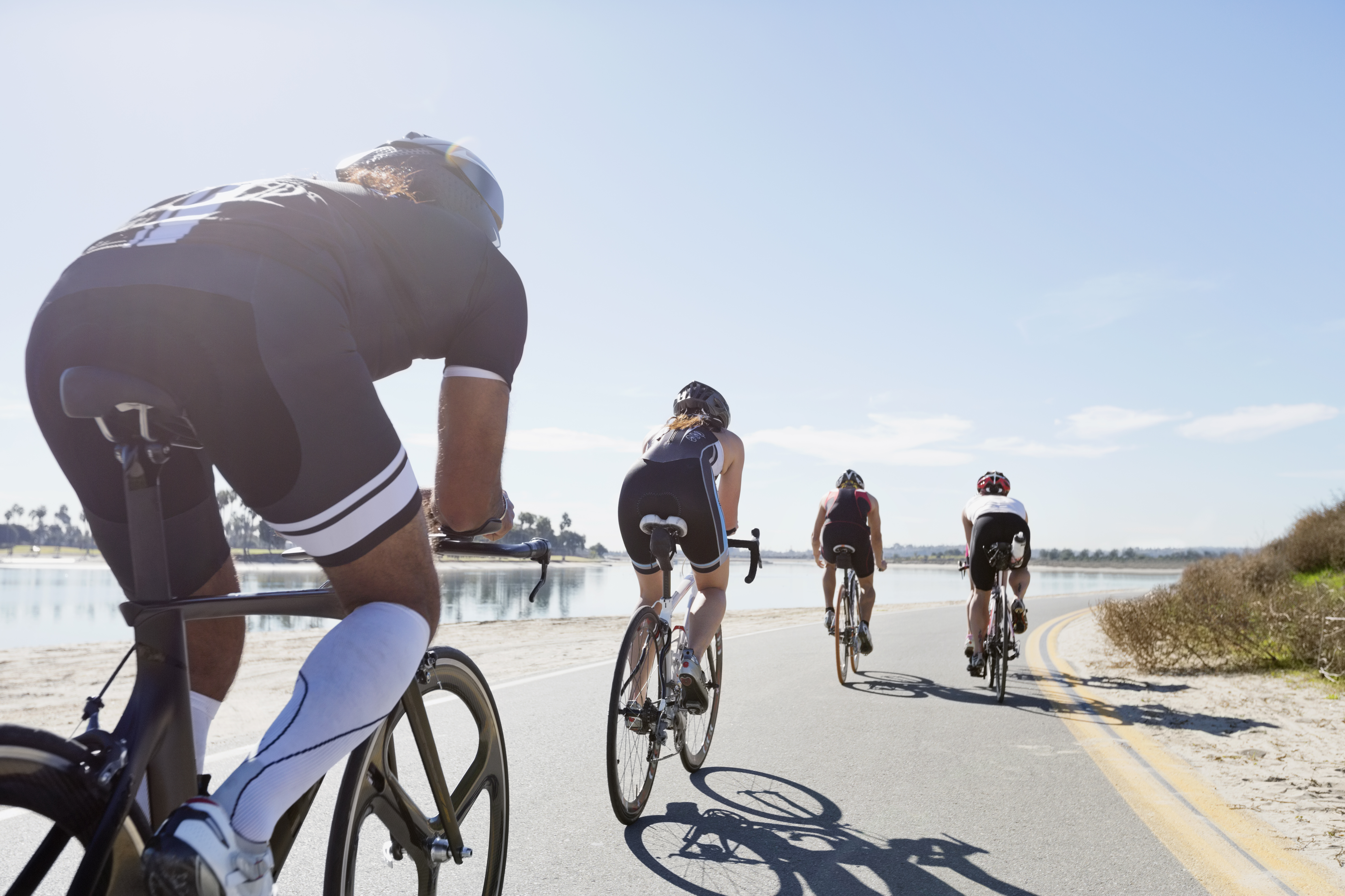 POV of group of cyclist from the rear