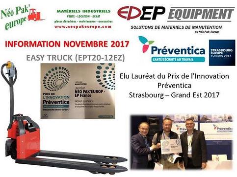 Prix de l'innovation Préventica 2017 Néo Pak' Europe
