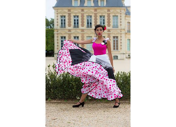jupe de Flamenco femme PEPITA noir/fuchsia à 2 volants