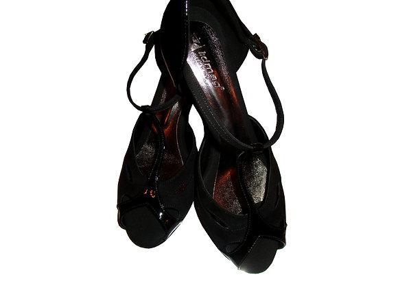 chaussure de danse de salon FARFALLA daim noir et vernis