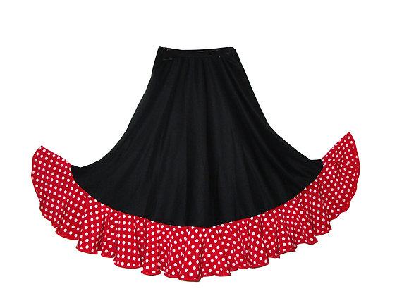 jupe de Flamenco fillette BRUNELLA noir volant rouge pois blancs