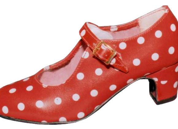 Chaussure Flamenco fillette ANITA rouge à pois blancs